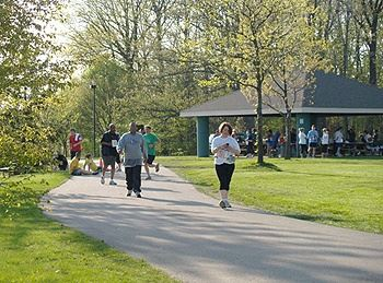 People at Picnic Shelter and Walking Trail
