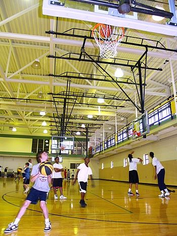 Playing Basketball in the Gymnasium